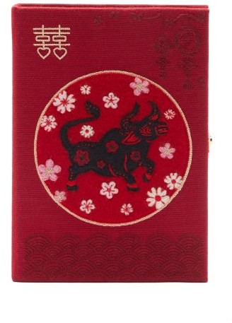 Olympia Le-Tan Chinese New Year Ox-embroidered Clutch - Burgundy Multi