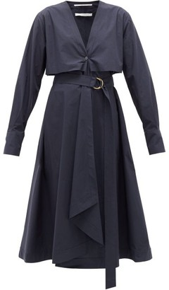 Another Tomorrow - Belted Organic Cotton-poplin Shirt Dress - Navy