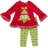 Rare Editions 2-Pc. Holiday Top & Leggings Set, Toddler Girls (2T-4T) & Little Girls (2-6x)