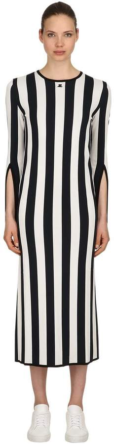 Courreges Striped Viscose Knit Long Sleeved Dress