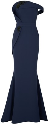 Safiyaa Navy Embellished Stretch-cady Gown