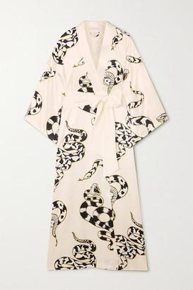 Olivia von Halle Queenie Printed Silk-satin Robe - Ivory