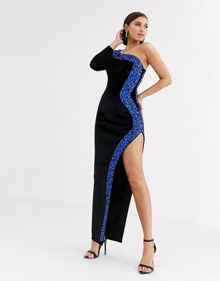 Asos DESIGN one shoulder high split bonded velvet maxi dress with embellished trim