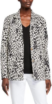 Lafayette 148 New York Plus Size Coleman Cheetah-Print Twill Jacket