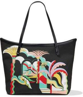 Emilio Pucci Twist Leather-trimmed Printed Canvas Tote