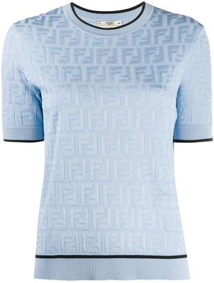 Fendi FF short-sleeve knitted top