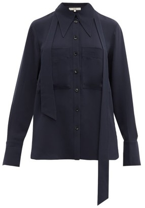 Tibi Exaggerated Collar Neck Tie Blouse - Womens - Navy