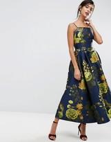 Asos SALON Premium Jacquard Extreme Maxi Dress