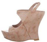Alice + Olivia Embossed Platform Wedge Sandals