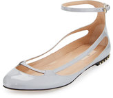 Valentino Stardust Babe Patent Ballerina Rockstud Flat, Pastel Gray