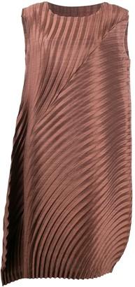 Issey Miyake Pleated Asymmetric Dress