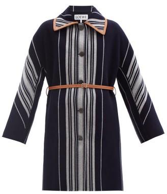 Loewe Belted Striped Wool-blend Coat - Blue Stripe