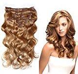 Bella Hair Grade 6A 18 inches Remy Virgin Hair Body Wave Clip in Hair Extensions Human Hair 10pcs 120g Color #14