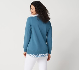 Denim & Co. French Terry Long-Sleeve Tunic with Hem Inserts