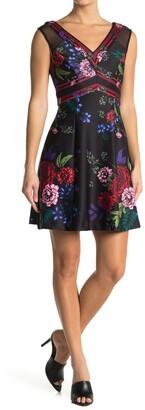 GUESS Floral Print V-Neck Dress