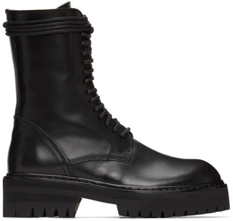 Ann Demeulemeester Black Lace-Up Lug Sole Boot
