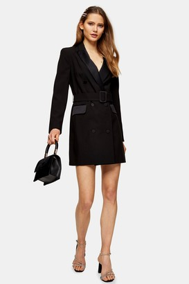 Topshop Womens Black Tuxedo Blazer Dress - Black