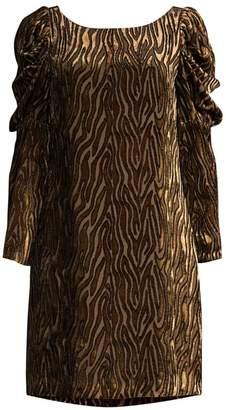 Elie Tahari Alex Metallic Velvet Puff-Sleeve Dress