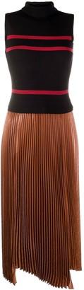 Dorothee Schumacher Contrast-Panel Roll-Neck Midi Dress