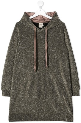 Caffe' D'orzo Hooded Metallic Knit Dress