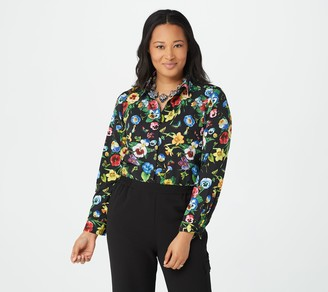 """Linea by Louis Dell'Olio """"Jac's Garden"""" Printed Woven Button Down Top"""