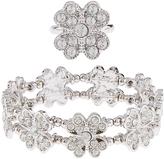 Monsoon Diamante Flower Bracelet & Ring Set