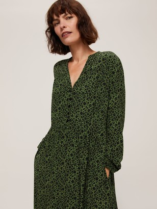 John Lewis & Partners Abstract Floral Print Midi Dress, Green Floral