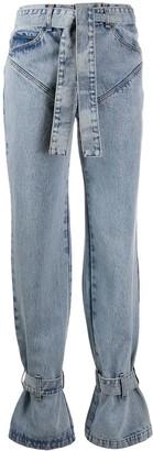 Tied-Hem Panelled Jeans