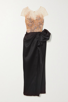 Marchesa Embellished Metallic Tulle And Gathered Satin Gown - Rose gold