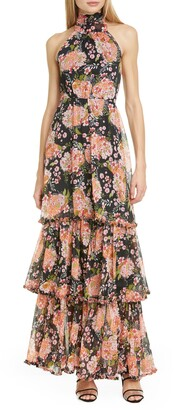 By Ti Mo Halter Neck Floral Chiffon Maxi Dress