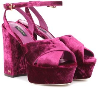 Dolce & Gabbana Keira velvet plateau sandals