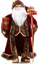 "Holiday Lane 24"" Santa Holding Staff & Gift Figurine, Created for Macy's"