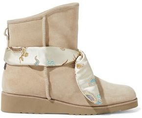 Australia Luxe Collective Joshua Satin Jacquard-trimmed Shearling Wedge Ankle Boots