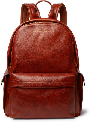 Brunello Cucinelli Suede-Trimmed Burnished Full-Grain Leather Backpack
