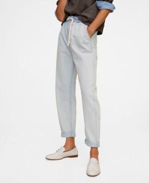 MANGO Lace Drawstring Waist Jeans