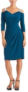 R & M Richards Embellished Cold-Shoulder Dress