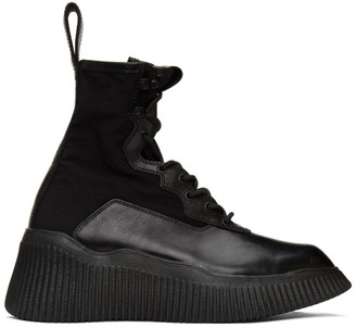 Julius Black Panelled Lace-Up Boots