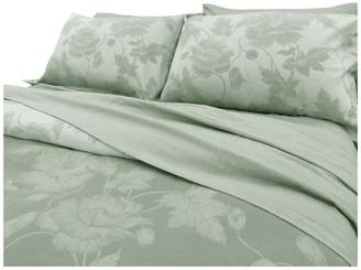 Natural Comfort Yue Home Textile Yarn-Dyed Linen Cotton Duvet Cover Set, Lily, Sage, K