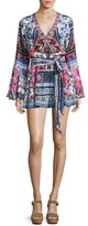 Camilla Belted V-Neck Bell-Sleeve Silk Playsuit, From Kaili with Love