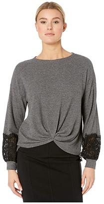 Karen Kane Lace Sleeve Twist-Front Sweater (Dark Heather Grey) Women's Sweater