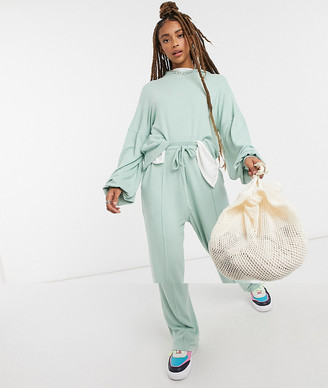 ASOS DESIGN fluffy hoodie tracksuit with straight leg sweatpants in mint