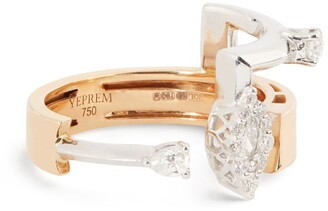 YEPREM Rose Gold And White Diamond Electrified Drop Ring