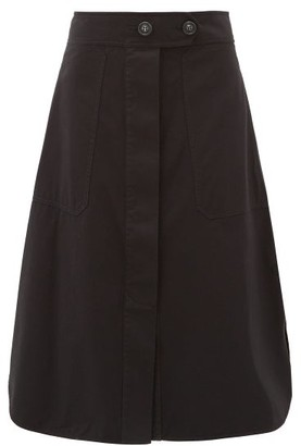 Lee Mathews Workroom Curved-hem Organic-cotton Skirt - Black