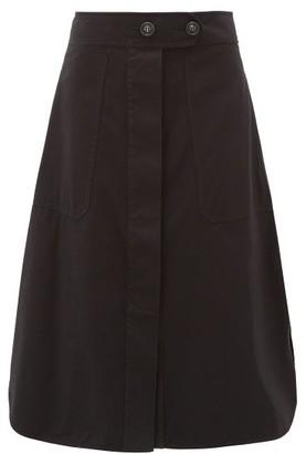 Lee Mathews Workroom Curved-hem Organic-cotton Skirt - Womens - Black