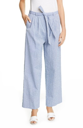 By Any Other Name Belted Stripe Cotton Jacquard Pants
