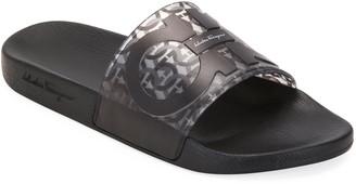 Salvatore Ferragamo Men's Groove 5 Gancini Slide Sandals