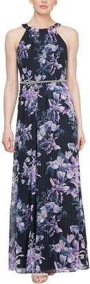 Slny Floral Metallic Beaded Waist Maxi Dress