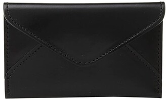 Lucchese Flat Leather Business Card Case (Black) Coin Purse