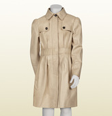 Gucci Beige Leather Trench Coat