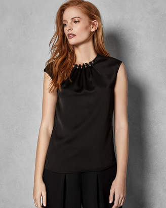 Ted Baker CAMBLE Folded gunmetal bead neck top
